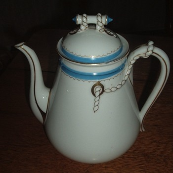 Antique Havilland Coffee/Teapot...Wedding Ring pattern...but Blue?