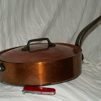 Vintage Fabrication Francaise Large Straight-Sided Saute Pan w/ Lid
