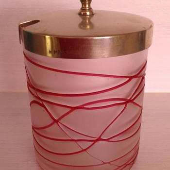 Bohemian red trailed satin glass jar with silverplate lid