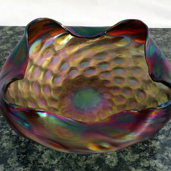 Exquisite Bohemian Art Nouveau Rindskopf Pepita Verde Bride Basket Bowl - Art Glass