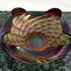 Exquisite Bohemian Art Nouveau Rindskopf Pepita Verde Bride Basket Bowl
