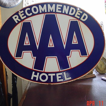 Recommended AAA Hotel...Double Sided Porcelain Sign...Three Colors - Signs