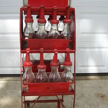 glass oil bottles & rack