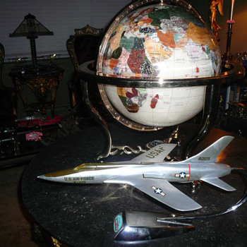 Jewelled Gemstone Globe & Aeroplane Models.