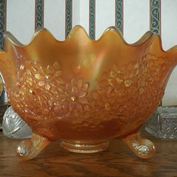 """I Think"" Fenton Orange Tree Carnival Glass - Glassware"