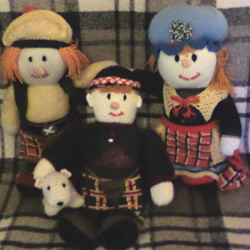 The McScarecrow Family, knitted  by my partner. - Dolls