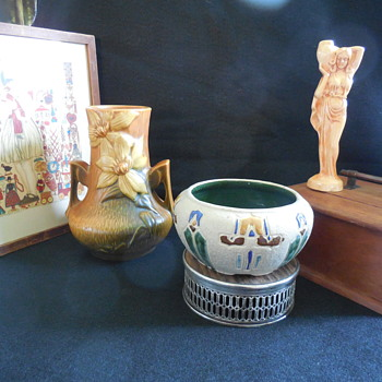 Roseville Pottery Vase and Bowl, and a Metlox Art Pottery Water Carrier Bud Vase