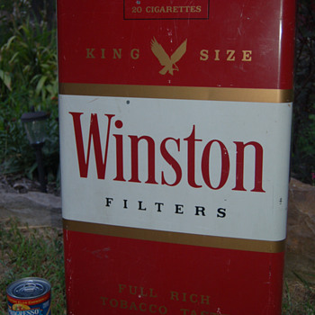 "1950""s (?) Large Winston Cigarette (Pack) Metal Display Sign~27"" ht. - Signs"