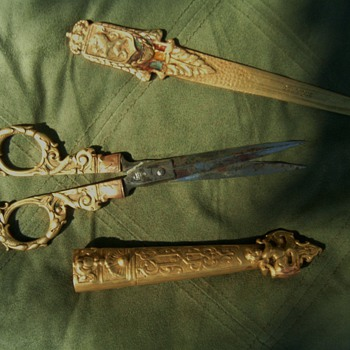 Vintage Scissors,sheath and letter opener Art Noveau - Sewing