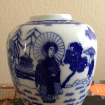 Blue and White Japanese Vase - Asian