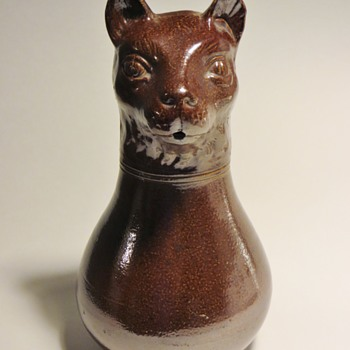 "Brown Stoneware Figurative Cat Jug~10"", Looks Antique~unmarked - Animals"