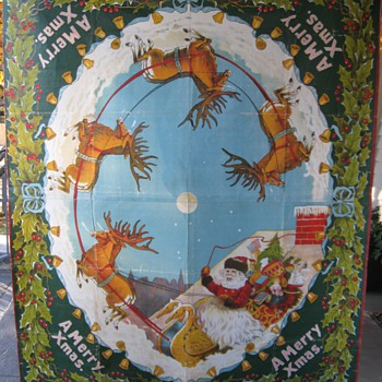 8 Foot Muslin Christmas Store Display Saalfield Books Early 1900's? - Christmas