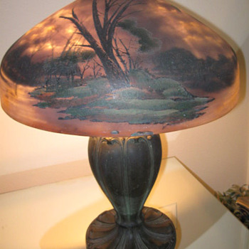 100 year old crystal reverse painted table lamp - Lamps