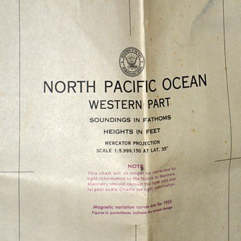 1949 Map of the North Pacific Ocean - updated in 1964 - Paper