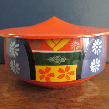 Mid Century Otagiri Mercantile Company Kashiki Lacquerware Snack & Candy Stacking Box, (missing stacking headpiece).