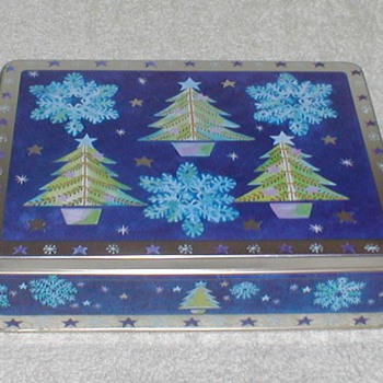 Christmas Cookie Tin - Snowflakes & Trees - Christmas