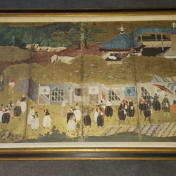 NYGS 1950s repro of 17th century japanese kano momoyama on gold leaf