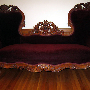 Carved Walnut Victorian Loveseat