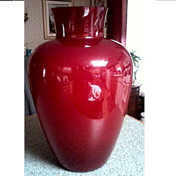 "Large ""Murano"" Red and White Cased Glass Vase / Signed /Unknown Age"