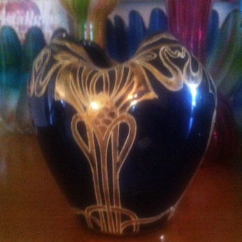 Art Nouveau Blue Glass and Gold applied artwork Rose Bowl