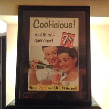 Framed cardboard 7up advertisement sign 1958