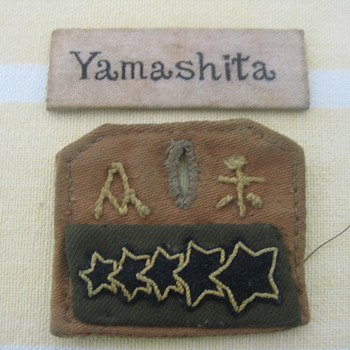 WW11 yamishita name tag -collar lapel five stars with japanese symbols