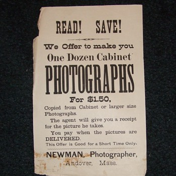 Photographers advertising broadside or handbill c. 1890s - Photographs