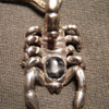 2.5 inches Vintage  Sterling Silver Scorpion + Black Onyx pendant