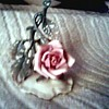 Beautiful Single Porcelain Rose Mounted on a Base / Marked  Germany
