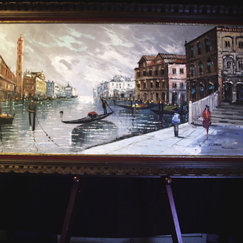 C.Carito, Italian impressionist, Oil on canvas, Venezia, Mid 20 Century - Visual Art