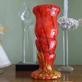 "FIERY MARBLE Classic WELZ Spatter Glass Vase-signed ""Made in Czechoslovakia"""