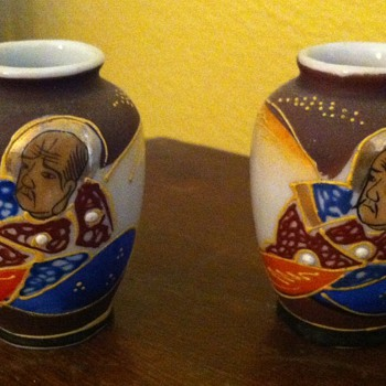 "Marching pair of Occupied Japan mini vases 3"" tall x 6"" round  - Asian"