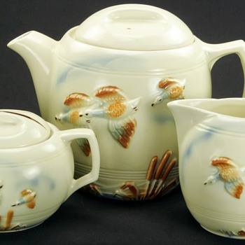 Vintage Art Deco Porcelier China Tea Set FLIGHT  - China and Dinnerware