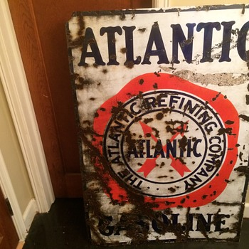 1930's Atlantic Gasoline porcelain sign