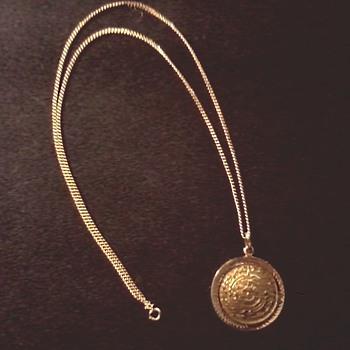 14 K Gold Aztec/Mayan Sun Calendar Pendant with 12K G.F. Chain / Circa 20th Century