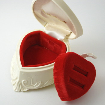 ivory celluloid heart ring box
