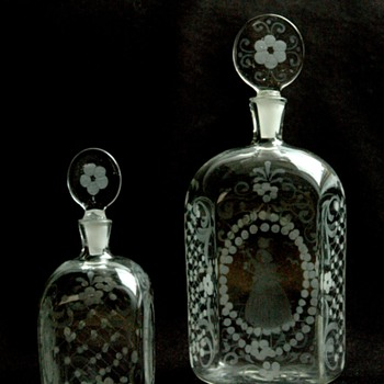 antique 18th engraved glass  perfume bottles
