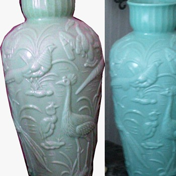 Antique Gillinder Puffy Glass PEACOCK Vase - Art Glass