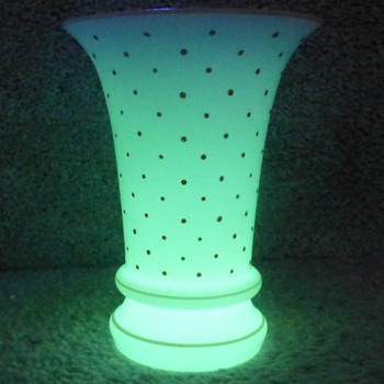 Unusual UV Reactive White Tango Vase with Pale Orange Polka Dots - Czechoslovakia - Art Glass