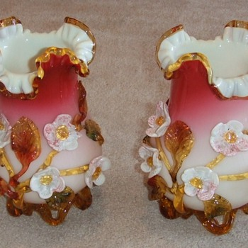 Stevens and Williams applied flower Art Glass Vases