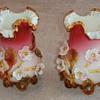 Stevens and Williams applied flower Art Glass Vases
