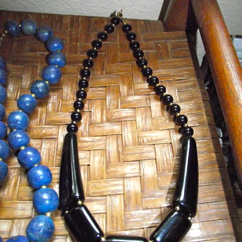 Black Lucite Necklace - Costume Jewelry