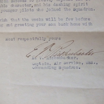 WW1 Letter written by Ace Pilot Rickenbacker to MIA pilot's Mother