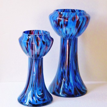 Art Deco Czech Kralik Pair Spatter Vases Bohemian  - Art Glass
