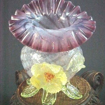 1900 Butler Brothers Bohemian Kralik Art Glass JIP Vase w Bloom - Art Glass