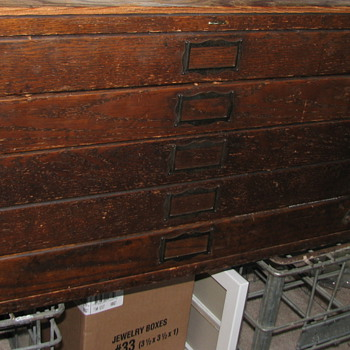 Gorgeous Antique Dark Oak Architect's Flat File Cabinet