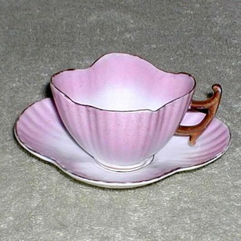 Victoria Pink & White Porcelain Demitasse Cup & Saucer - China and Dinnerware