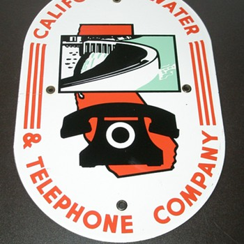 California Water & Telephone Porcelain Sign - Telephones