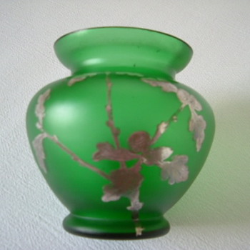 Goldberg Vase with Silver Overlay of Acorns and Oak Leaves