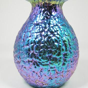 "Loetz Cobalt Blue Phänomen genre 377 ""Lava"" decor ca. 1900 - 05"
